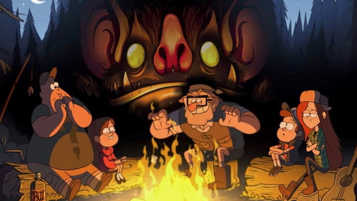 The characters in Disney's Gravity Falls series seated around a campfire.