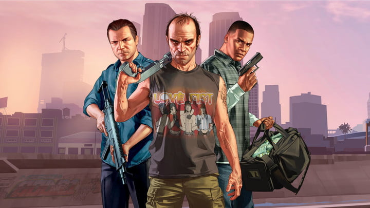 The protagonists of GTA V pose for the camera.