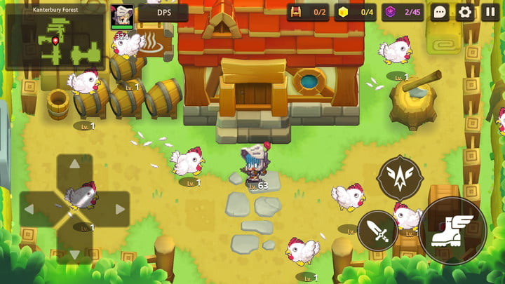 Guardian Tales player surrounded by angry chickens.