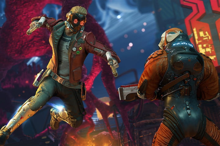 Star Lord from Guardians of the Galaxy punching.