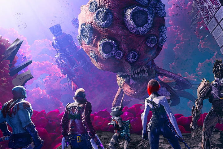 The Guardians of the Galaxy facing giant alien.