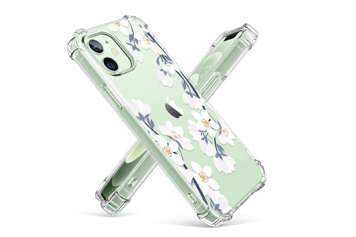 Gviewin Clear Floral Case for iPhone 12 and 12 Pro