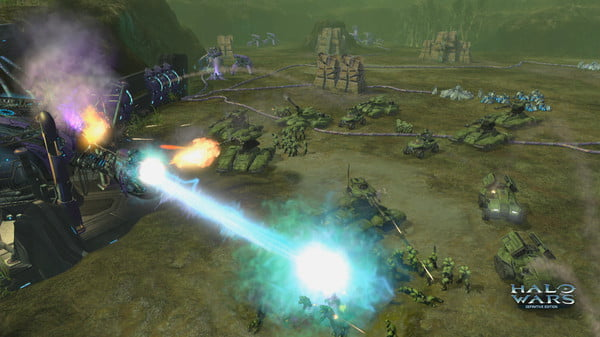 A squad of tanks being hit by a plasma blast.