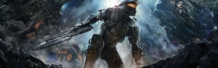 Master Chief crouching with a gun.