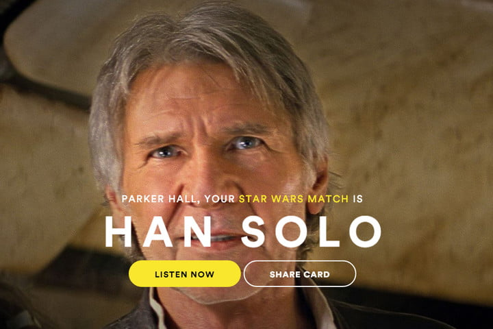 spotify star wars character musical match han solo