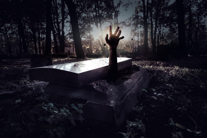 hand rising out of grave