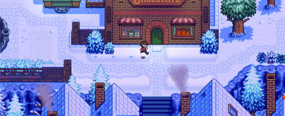 Player running in front of the choclaterie in Haunted Chocolatier.