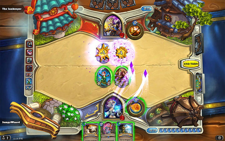One player lays down some attack creature cards in Hearthstone.