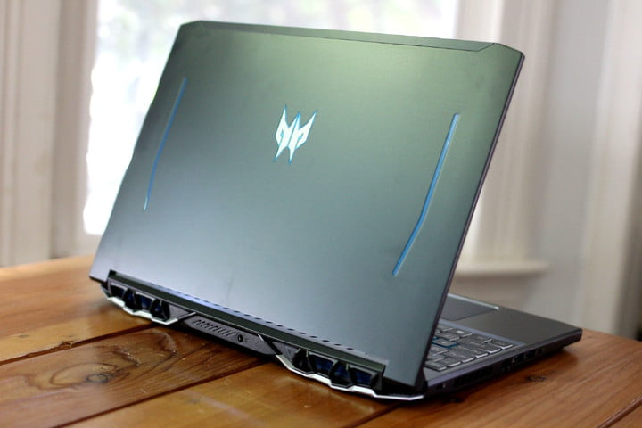 An Acer gaming laptop on a desk.