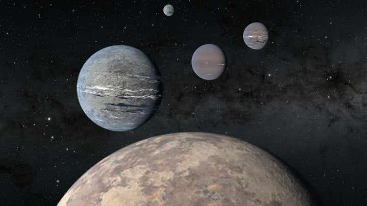 An artist's rendering of a five-planet system around TOI-1233 includes a super-Earth (foreground) that could help solve mysteries of planet formation. The four innermost planets were discovered by high schoolers Kartik Pinglé and Jasmine Wright alongside researcher Tansu Daylan. The fifth outermost planet pictured was recently discovered by a separate team of astronomers.