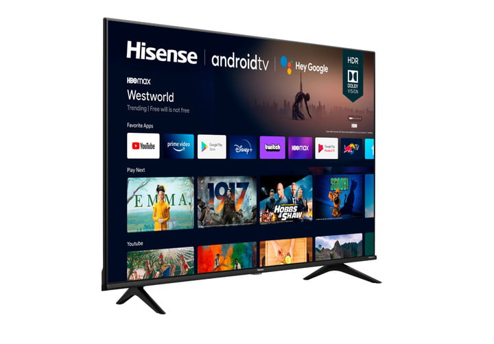 The 70-inch Hisense 70A6G 4K TV with the Android TV home screen on the display.