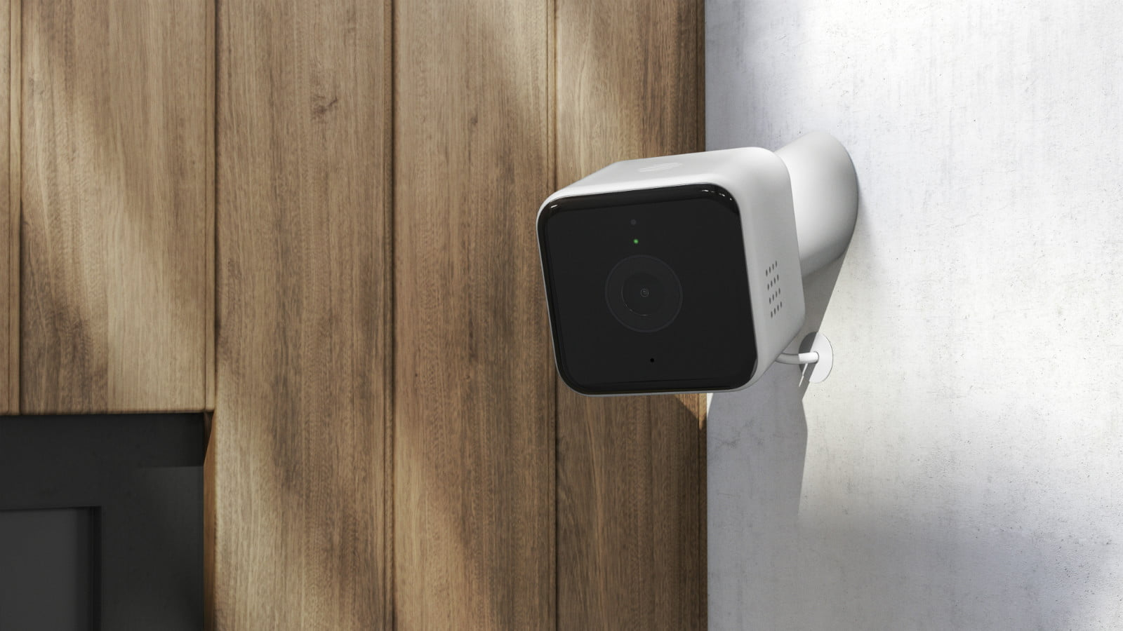 hive view outdoor smart security camera render  left angle insitu on white wall wood panelling copy