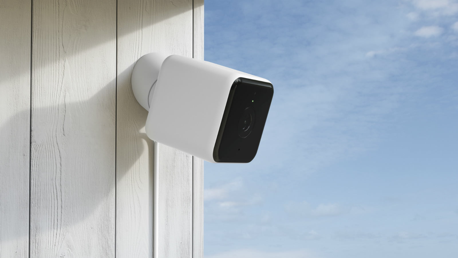hive view outdoor smart security camera render  right angle insitu on white wood panelling copy