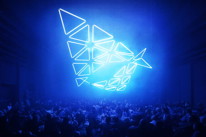 An overhead LED display at a concert.