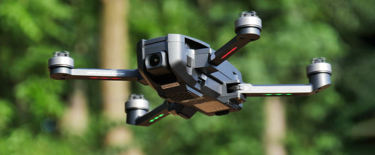 Holy Stone HS720E drone flying in air.