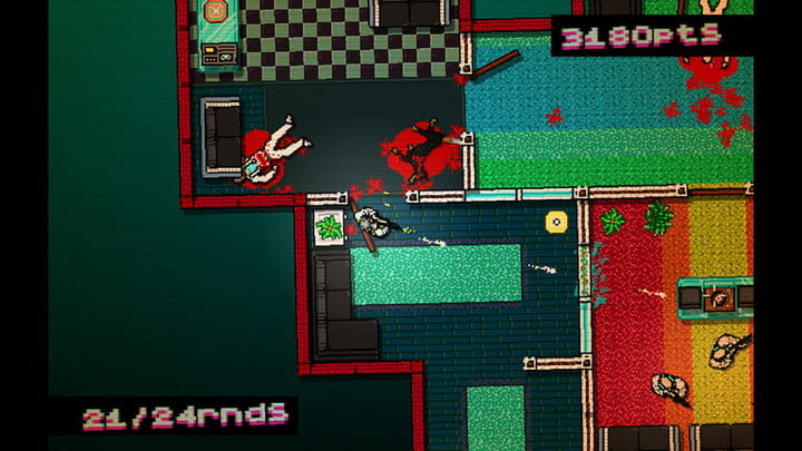 Hotline Miami top-down gameplay.
