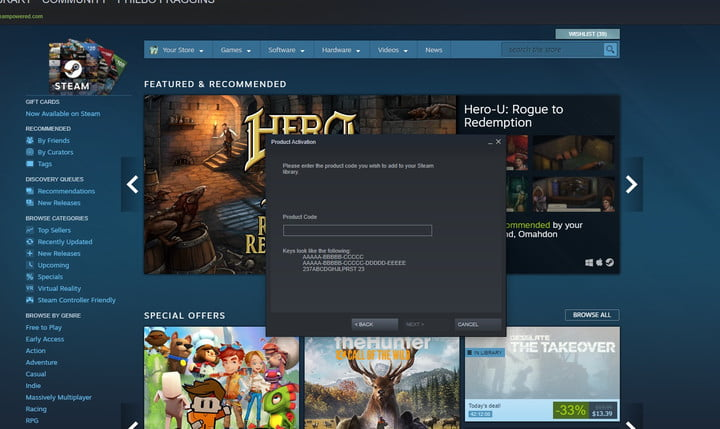 Product activation window in Steam.