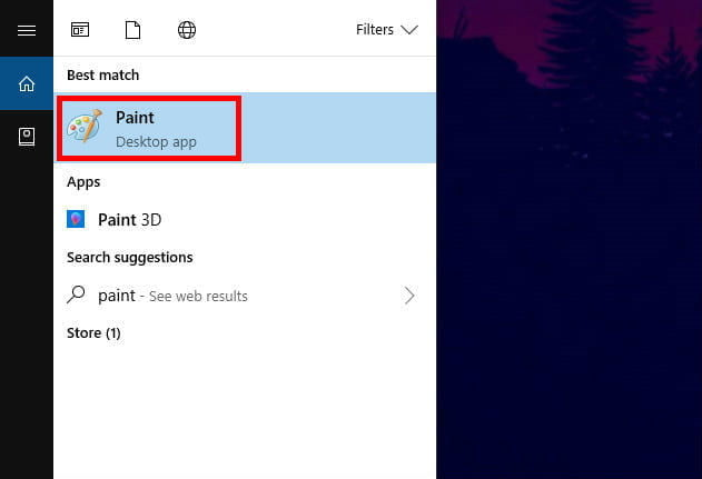 Navigating to the Microsoft Paint app on Windows 10.