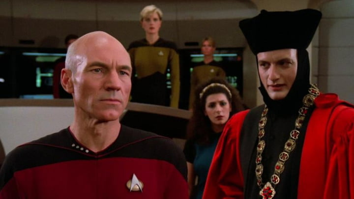 Captain Picard and the infamous Q on the Enterprise.