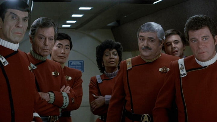 The crew of the Enterprise in Star Trek IV: The Voyage Home.