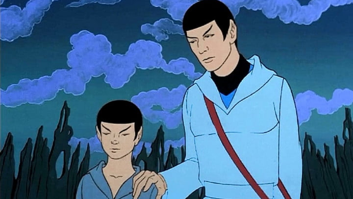 Spock and a young Vulcan in Star Trek: The Animated Series.