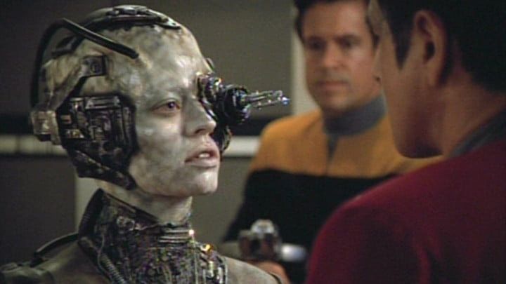 Seven of Nine's first appearance in Star Trek: Voyager.
