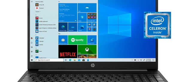 HP laptop with Windows 10 Home and an Intel Celeron processor.