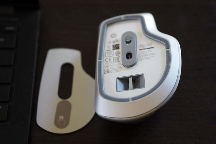 Opened view of the HP 930 Creator Wireless Mouse.