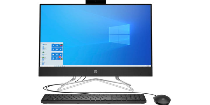 HP All-in-One 24-df1036xt from a center angle on a white background and featuring a keyboard and mouse.