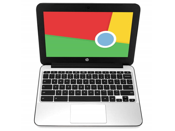 The HP Chromebook 11 G4 with Chrome OS colors on the screen.