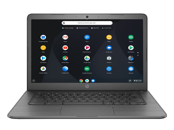 An HP Chromebook with a 14-inch touchscreen, showing various apps on the display.
