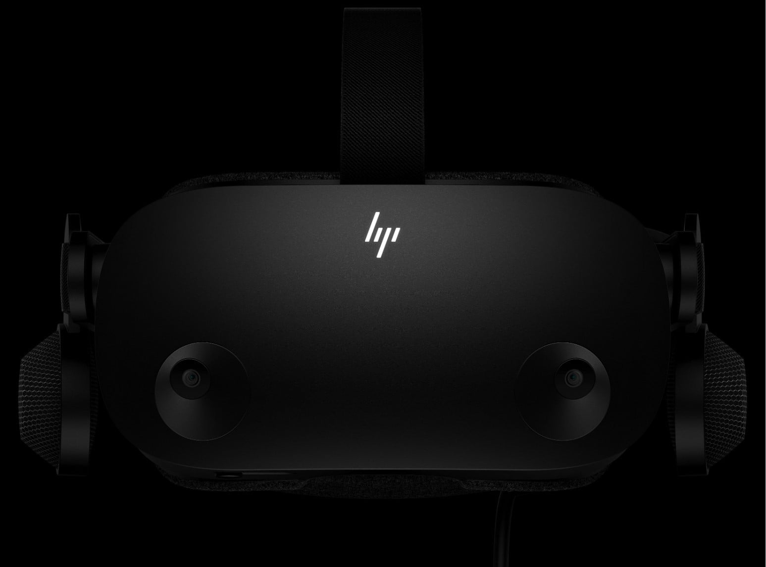 The front view of the HP Reverb G2 virtual reality headset.