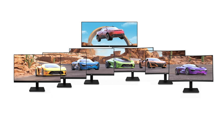 The entire family of HP X Series gaming monitors.