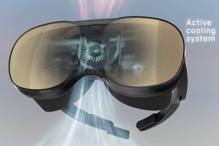 Active cooling system and onboard processing on HTC Vive Flow standalone VR headset.