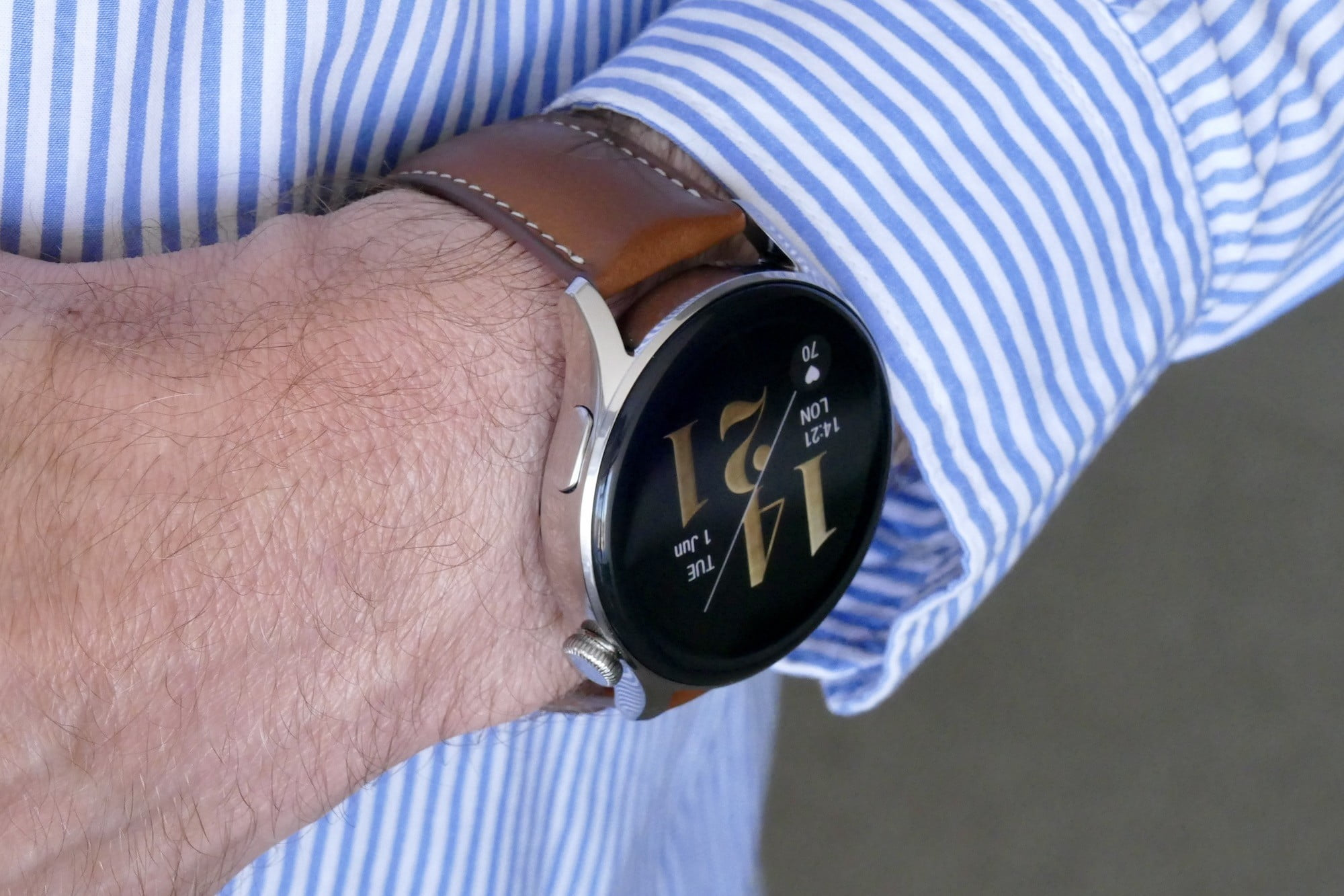Huawei Watch 3 from the side on a wrist