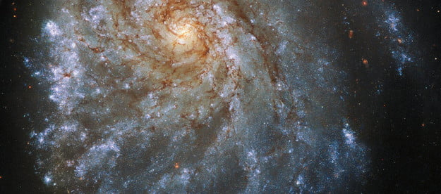 This spectacular image from the NASA/ESA Hubble Space Telescope shows the trailing arms of NGC 2276, a spiral galaxy 120 million light-years away in the constellation of Cepheus. At first glance, the delicate tracery of bright spiral arms and dark dust lanes resembles countless other spiral galaxies. A closer look reveals a strangely lopsided galaxy shaped by gravitational interaction and intense star formation.