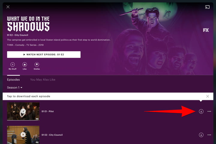 An example of the Hulu Download TV Show button.