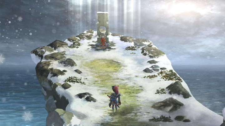 Standing by a grave on a snowy cliff in I Am Setsuna.