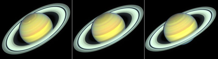 Hubble Space Telescope images of Saturn taken in 2018, 2019, and 2020 as the planet's northern hemisphere summer transitions to fall.