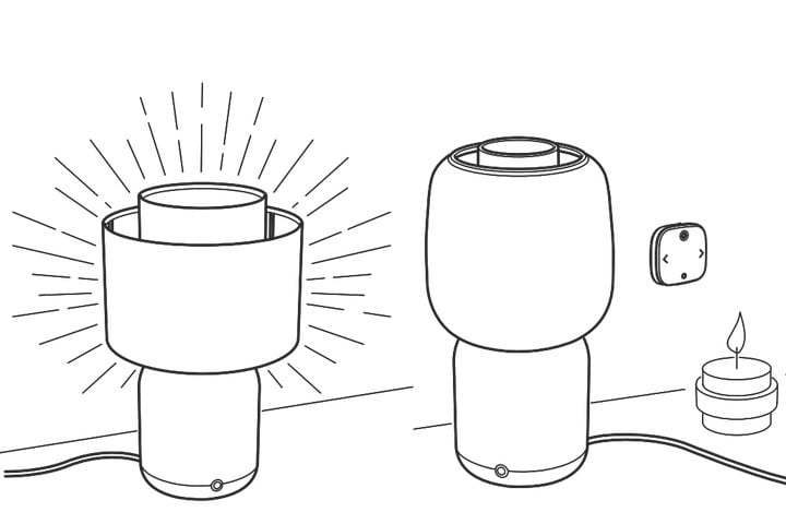 Diagram showing two light shade options for the Symfonisk Table Lamp.