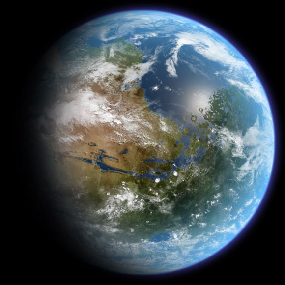 This is an artist's impression of habitable Mars