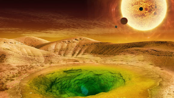Artist's conception of what life could look like on the surface of an exoplanet.