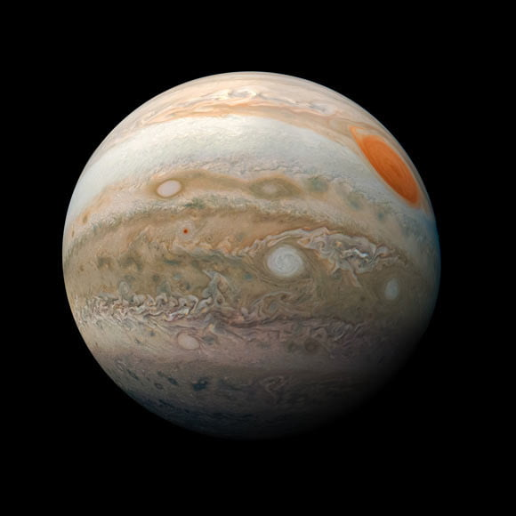 This image of Jupiter was taken on February 12, 2019, as Juno performed its 18th close flyby of the planet.