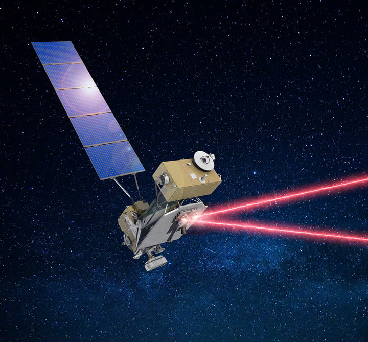 Illustration of the U.S. Department of Defense's Space Test Program Satellite-6 (STPSat-6) with the Laser Communications Relay Demonstration (LCRD) payload communicating data over infrared links.