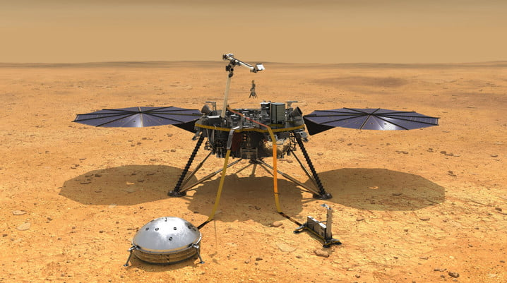 This illustration shows NASA's InSight spacecraft with its instruments deployed on the Martian surface.