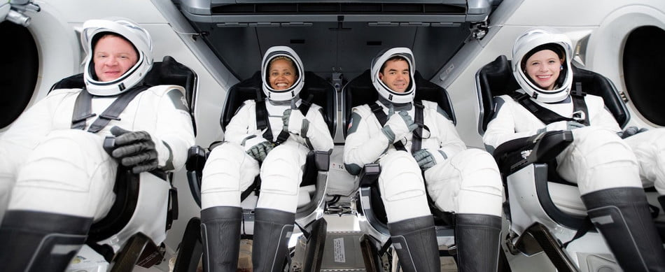 The all-civilian crew heading to space in September 2021.