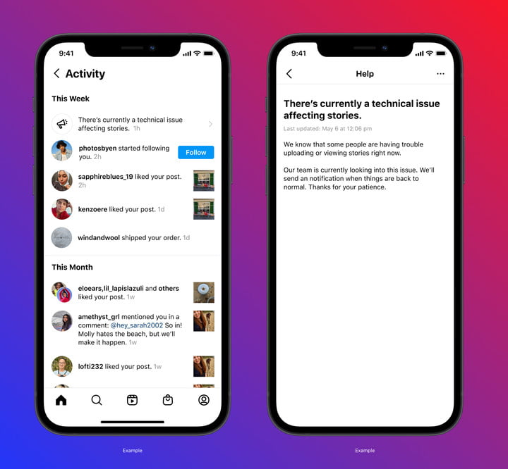 Instagram debuts a new outage warning on mobile.