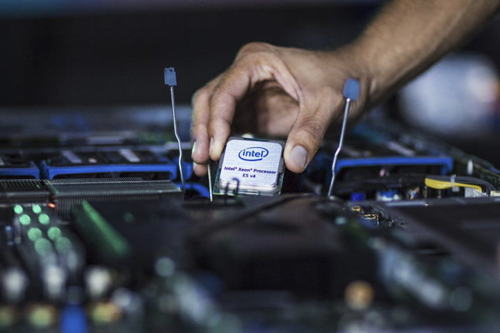 Intel Chip being removed from a computer panel