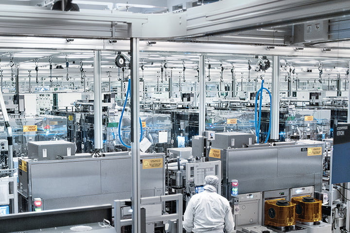 Workers inside an Intel foundry