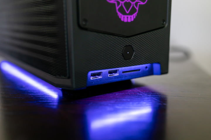 Front ports on Intel NUC 11 Extreme.